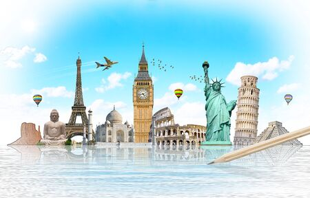 destination: Famous landmarks of the world with hand-drawn effect