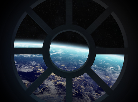 Window view of planet earth from a spaceship cabin