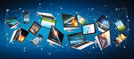 Numerous tech devices connected to each other on blue background �3D rendering� Stock Photo
