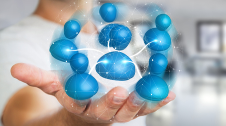 Businessman holding blue icon social network in his hand 3D rendering