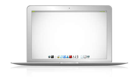 connexion: Modern digital silver and black laptop on white background 3D rendering