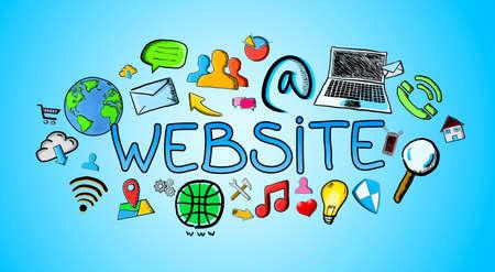 Hand drawn internet illustration on blue background