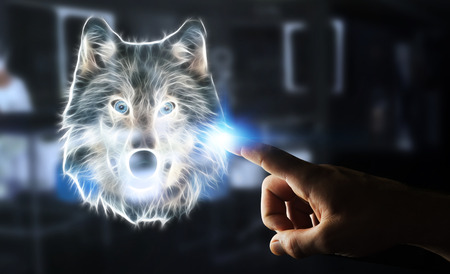 endangered: Person touching with his finger fractal endangered wolf illustration 3D rendering Stock Photo