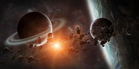 일출 동안 공간에서 먼 행성 시스템의보기 일출 3D 렌더링