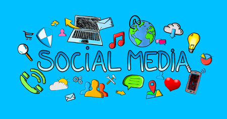 Hand drawn social media illustration with icons on blue background