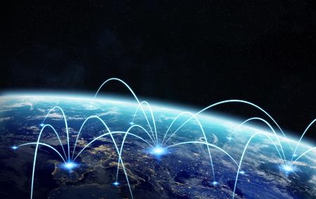 Réseau et satellite échange de données sur la planète Terre dans l'espace 3D éléments de cette image fournie par la NASA rendu