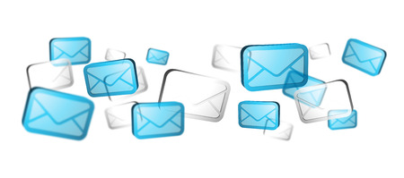 numerous: Numerous white and blue email icons flying on white background �3D rendering�