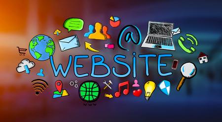 connexion: Hand drawn internet illustration on blue background