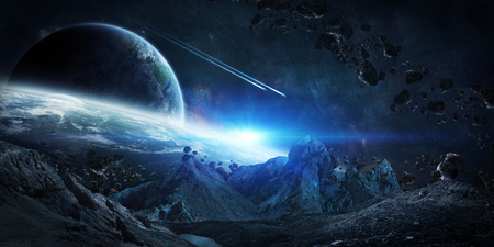 Gigantic asteroids in space about to crash on planets 3D rendering elements