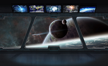 Window view of space and planets from a space station 3D rendering elements