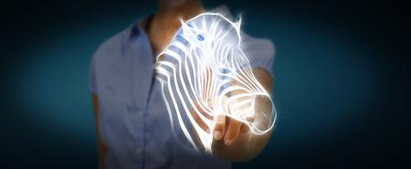 endangered: Person touching with his finger fractal endangered zebra illustration 3D rendering