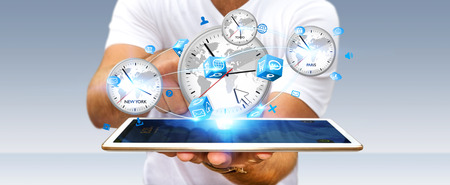 Businessman connecting four white timers from different countries with his digital tablet