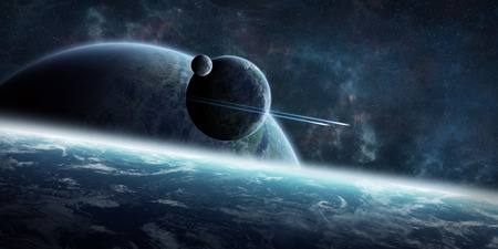 Blick auf einen fernen Planeten-System aus dem Weltraum während einer Sunrise-3D-Rendering-Elemente dieses Bildes von der NASA eingerichtet Standard-Bild