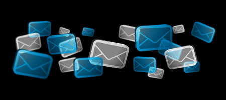numerous: Numerous white and blue email icons flying on black background �3D rendering� Stock Photo