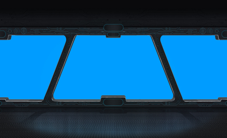 Futuristic space station window with blue background 3D rendering Фото со стока