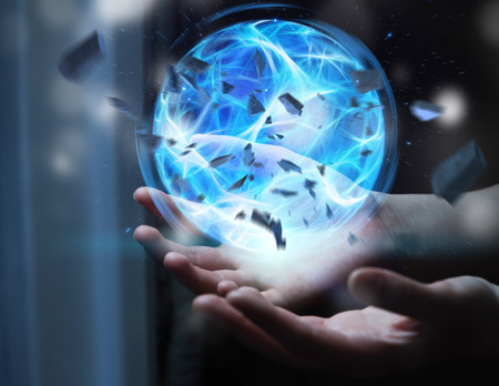 3d lightning: Superhero creating an exploding blue power ball with his hand Stock Photo