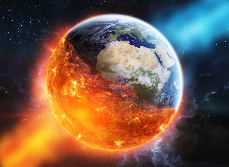 Vue sur la planète terre qui brûle dans l'espace Banque d'images - 63999471