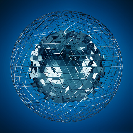 levitate: Abstract sphere with shiny cube on blue background 3D rendering