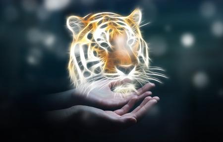 Person holding in his hand fractal endangered tinger illustration 3D rendering