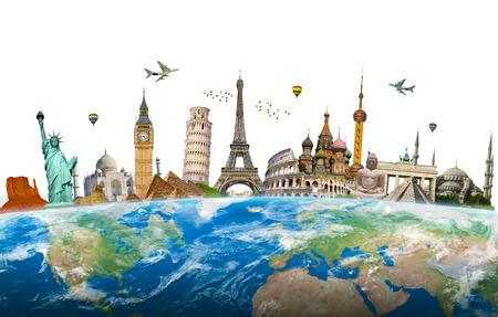 Famous landmarks of the world surrounding planet Earth Standard-Bild