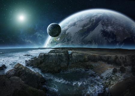 Distante planeta vista del sistema de acantilados y elementos de renderizado en 3D del océano de esta imagen proporcionada por la NASA Foto de archivo