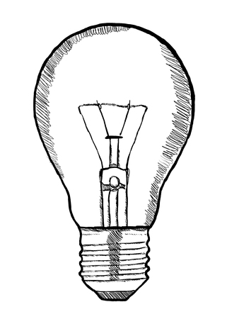 handdrawn: Hand-drawn lightbulb innovation concept on white background