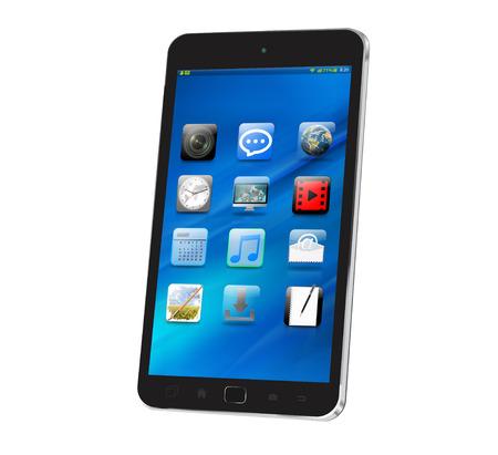 Moderne téléphone intelligent numérique sur fond blanc rendu 3D Banque d'images - 64245876