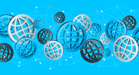 Blue grey and black digital web icons on blue background '3D rendering'