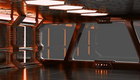 Spaceship orange interior with empty window view 3D rendering