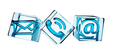 Blau transparent Würfel Kontakt icon 3D-Rendering Standard-Bild - 64245501