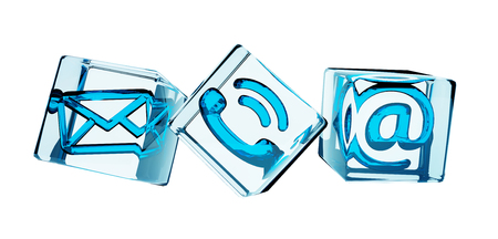 Blue transparent cube contact icon illustration 3D rendering