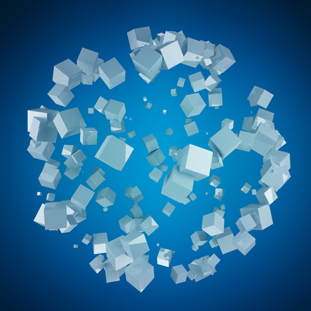 blue sphere: Abstract sphere with shiny cube on blue background 3D rendering