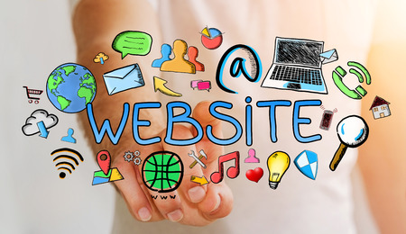 Man touching hand-drawn internet presentation with his finger on blurred background