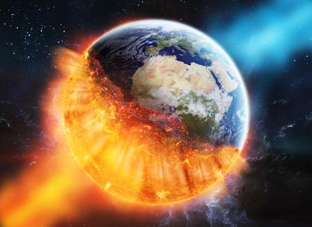 Vue sur la planète terre qui brûle dans l'espace Banque d'images - 64245157