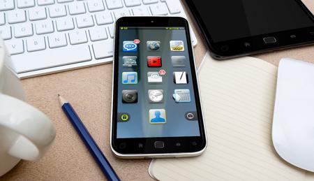 Téléphone mobile moderne avec une interface sur un bureau dans le bureau 3D rendu Banque d'images - 64245129