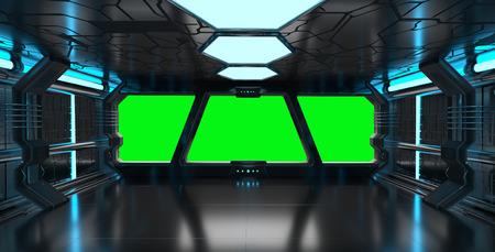 Nave espacial interior azul con vista de la ventana con el fondo verde representación 3D Foto de archivo - 64245088