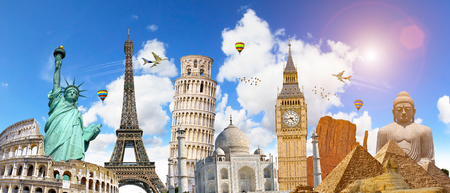 Famous landmarks of the world grouped together in front of blue sky Stock Photo