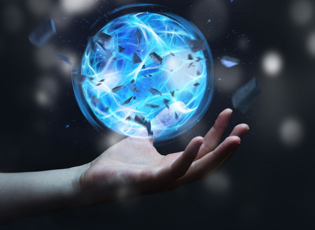 supernatural power: Superhero creating an exploding blue power ball with his hand Stock Photo