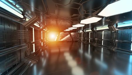 Ruimteschip blauwe interieur met zicht op de ruimte en verre planeten systeem 3D-rendering