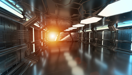 Spaceship blue interior with view on space and distant planets system 3D rendering
