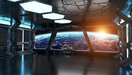 Ruimteschip blauwe interieur met uitzicht op de ruimte en de planeet aarde 3D-rendering Stockfoto