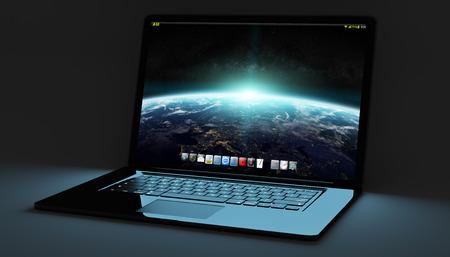 connexion: Modern metallic black digital laptop on black background 3D rendering
