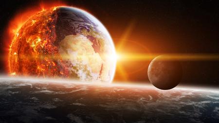 Vue sur la planète terre qui brûle dans l'espace Banque d'images - 65189382