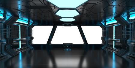 ホワイト バック グラウンド 3D レンダリングと、ウィンドウ表示と青い宇宙船インテリア 写真素材