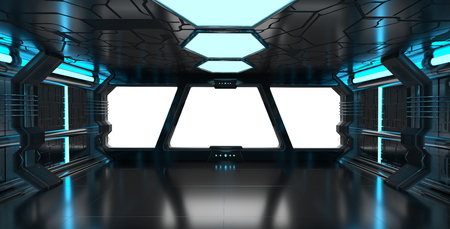 Spaceship blue interior with window view with white background 3D rendering