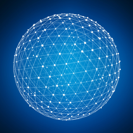 blue sphere: Abstract connection web sphere with spot and lines on blue background 3D rendering