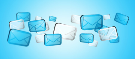 numerous: Numerous white and blue email icons flying on blue background '3D rendering' Stock Photo