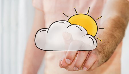 vacancy: Man touching hand drawn cloud and sun icons with his finger