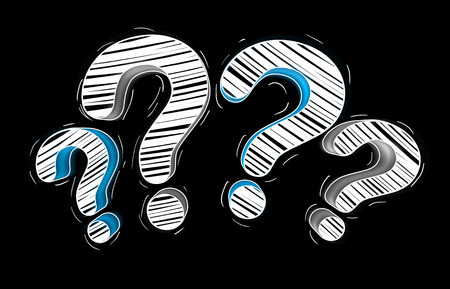 Blue and white hand drawn question marks on black background Stock Photo