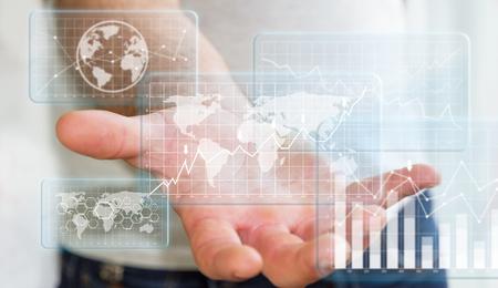 slump: Businessman using digital tactile flying charts and bars screen over his hand Stock Photo